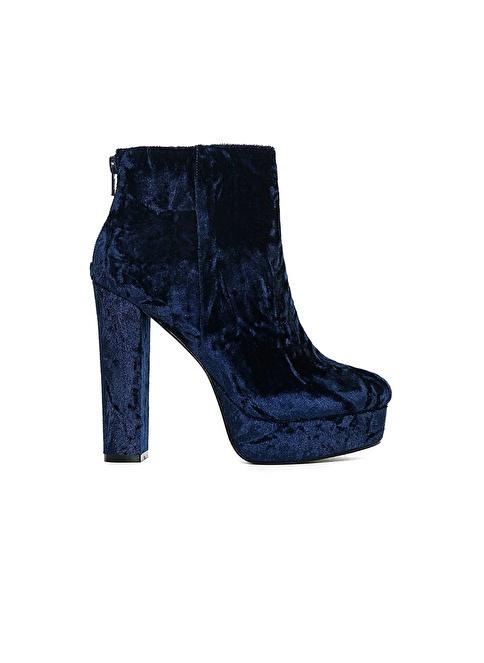Aldo Platform Kalın Topuklu Kadife Ayakkabı Lacivert